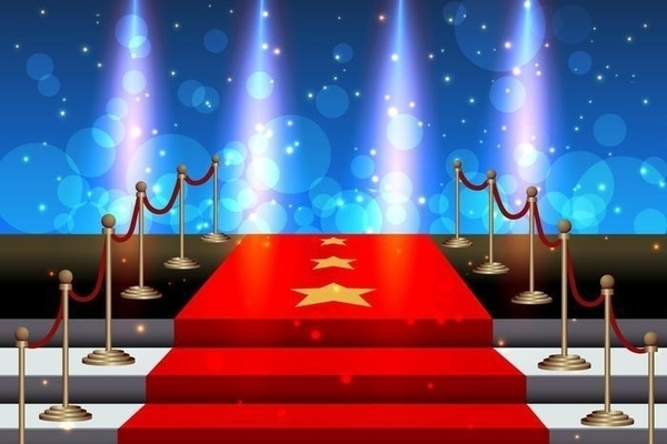 T stairs covered red carpet vector
