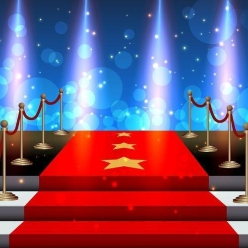 Thumb stairs covered red carpet vector